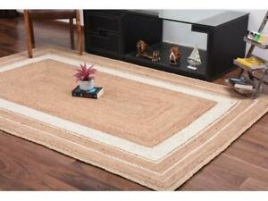 indian handwoven white border jute rug hand braided bohemian jute rectangle rug