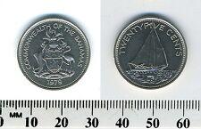 Bahamas 1979 - 25 Cents Nickel Coin - Bahamian Sloop - National arms