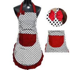 Cute BowKnot Dot Women Kitchen Restaurant Bib Cooking Aprons With Pocket