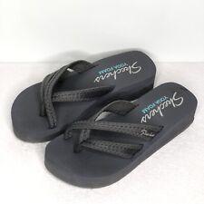 Skechers Gray Yoga Foam Slip On Wedge Sandals Thong Style Comfort Size 7