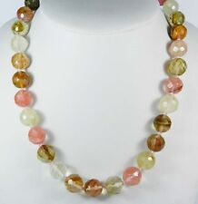 AAA++ 8mm Faceted Watermelon Tourmaline Round Beads Gemstone Necklace 20 inch