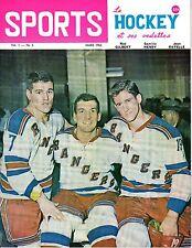 1963 (Mar.) Sports Le Hockey Magazine, Rod Gilbert, Camille Henry, Jean Ratelle