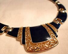 HANDSOME DARK BLUE ENAMELED NECKLACE, 1950s