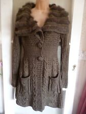 PATRICE BREAL 30% WOOL COATIGAN - LARGE COLLAR BANDED WITH REAL RABBIT FUR S/M