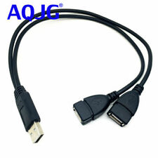 1x USB 2.0 A Male to Dual USB 2.0 A Male Plug Data Charging Y Splitter Cable Cord 70+20cm