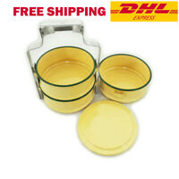 Thai Tiffin Box Bento Pot Lunch Food Enamel Carrier Container Picnic Yellow 11cm