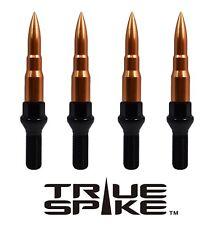 20 TRUE SPIKE 12X1.5MM 28MM SHANK STEEL LUG NUT BOLTS W/ ROSE GOLD BULLET SPIKES