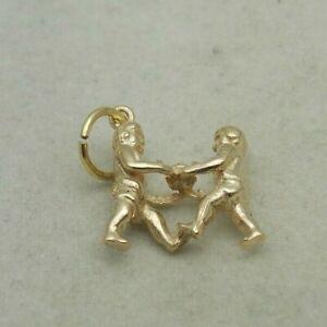 3D 9CARAT GOLD GEMINI ZODIAC CHARM /PENDANT