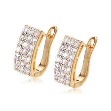 Hollow Fashion Hoop Earrings Womens earings 18k Gold Filled Zircon Square Cz