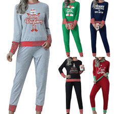 Women Christmas Striped Pattern Pajama Set Long Sleeve Top + Long Trouser Casual