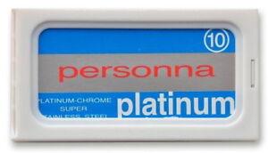 10 Pz. Personna Platinum Double Bordo Lamette Rasoio per Realizzati IN Israele