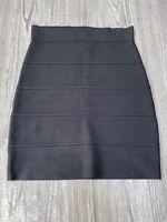 BCBG Maxazria Black Bandage Body Con Mini Skirt Womens Size Small Pre Owned