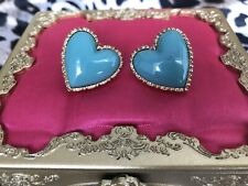 Betsey Johnson Vintage Aqua Turquoise Blue Lucite Puffy Heart Stud Earrings RARE