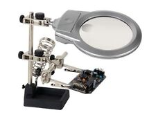 Terza mano con LED, lente d'ingrandimento e portasaldatore - N158