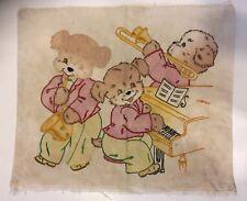 VTG Hand Embroidered Dog Musician Jazz Throw Pillow Cover Case Textile Art Retro