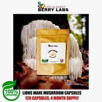 x120 500 Mg 100% Vegan Lion's Mane Mushroom Capsules 40% Polysaccharides Organic