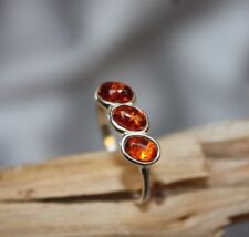 Cognac Baltic Amber Ring Sterling Silver 925 - size 6.5 , 7.5 , 8.5 , 6 , 7 ,8