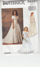 Wedding Gown Fit Flare Off Shoulder Full Length Butterick Pattern 5898 Szs 6-10