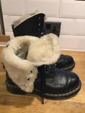 Doc Martens Aimilita Aunt Sally Fur/Black Leather Ladies Boots 9hole Uk5/38 VGC