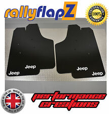 RallyflapZ Pour S'adapter JEEP Renegade (2015+) Noir Bavettes Kit Logo Qty4 Blanc