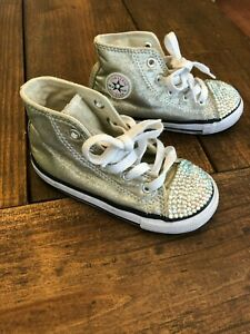 Converse Swarovski Crystal Silver/Gold shoes size 8 Toddler Bling