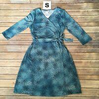 SMALL MICHELLE LuLaRoe Wrap Dress ~ AQUA BLUE SPECKLES ~ sizes 6-8, FREE SHIP