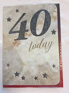 Mens Age 40 'Forty Today' Birthday Card. Great Card For Male Aged 40