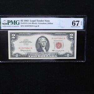 $ 2 1963 Legal Tender Note, PMG 67 EPQ Superb Gem Unc, Fr#1513 (AA Block)