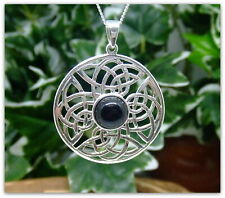 "Celtic Black Onyx Sterling Silver Necklace Gemstone Pendant 18"" chain Pagan"