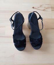 ZARA Black High Heel Platform Sandals Shoes With Shiny /Glitter Heel  SIZE UK 4
