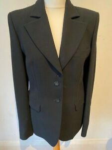 Roberto Cavalli Black Wool Wide Leg Fitted Trouser Suit 44 12 £486 New With Tags
