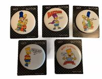 Vintage The Simpsons Pinback Button Pins Lot of 5 Size 2 Inches A8