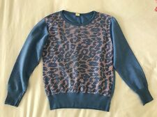 Vintage 80s Blue & Pink Animal Print Soft Cotton Slouchy Sweater Jumper Size XS