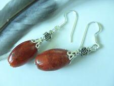Designer Olive Ohrringe Ohrhänger rote Koralle mit 925 Silber Ohrhaken