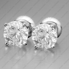 4.00 TCW DVVS1 ROUND CUT MOISSANITE EARRINGS STUD IN SOLID 14K WHITE GOLD FINISH
