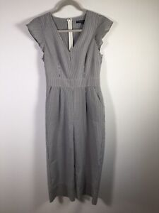 French Connection Women's White Striped Short Sleeve Jumpsuit Size 8 Cotton