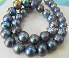"HUGE NATURAL SOUTH SEA 17""10MM GENUINE BLACK BLUE BAROQUE PEARL NECKLACE"