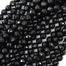 """Faceted Black Tourmaline Round Beads 15.5"""" A Grade 3mm 4mm 5mm 6mm 8mm 10mm 12mm"""
