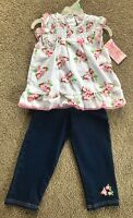 NEW Girls Casual Floral 2 Piece Spring/Summer Set - Top & Denim Pants - Size 6