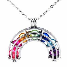 K408 Silver 36mm Rainbow Pearl Cage Necklace - Rainbow Locket 7X Beads as inner