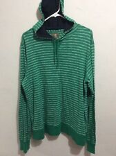 Timberland Green & White Striped Pullover w/ Hood Size XL Mens