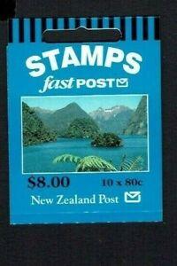 New Zealand: 1999 $8 Fast Post booklet, 80c (Doubtful Sound) x 10 W60b(x) 3 Kiwi