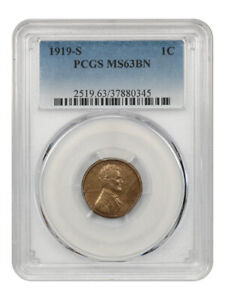 1919-S 1c PCGS MS63 BN - Lincoln Cent