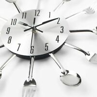 Metal Sliver Home Decoration Cutlery Kitchen Utensil Spoon Fork Clock Wall Clock