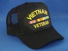 Vietnam Veteran Patch On A Black Mesh Hat / Cap
