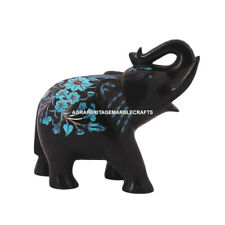 Decorative Marble Elephant Sculpture Turquoise Inlay Floral Art Mosaic Decor E35