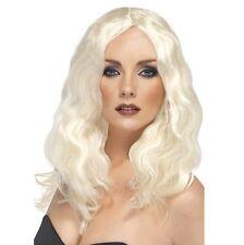 Ladies 70s 80s Superstar Fancy Dress Wig Platinum Blonde Hen by Smiffys new