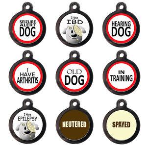 Medical Alert PET ID TAGS - IBD Epilepsy Seizure - Dog Cat Discs - PERSONALISED