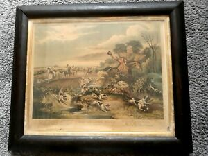 """Gravure anglaise Chevaux et chasse  """"Bachelor's Hall. Plate 3"""" teinte pour 1860"""