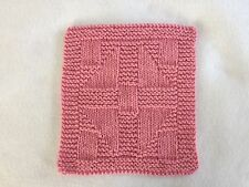100% COTTON HAND KNIT DISH CLOTH - GRANDMOTHER'S CHOICE - PINK - QUILT PATTERN